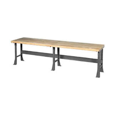 "Global Industrial™ 120""W x 30""D Extra Long Industrial Workbench, Maple Block Square Edge - Gray"