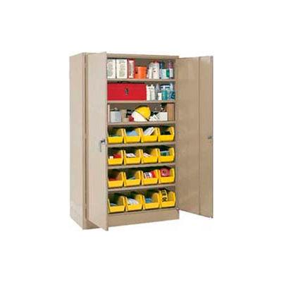 Global Industrial™ Locking Storage Cabinet 48x24x78, 24 YL Stacking Bins, 6 Shelves Unassembled