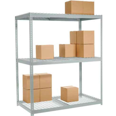 Global Industrial™ Wide Span Rack 96Wx48Dx96H, 3 Shelves Wire Deck 1100 Lb Cap. Per Level, Gray