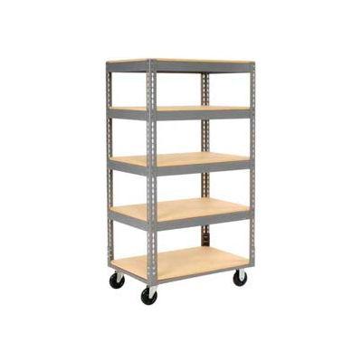 Global Industrial™ Easy Adjust Boltless 5 Shelf Truck 48x24, Wood Shelves, Polyurethane Casters