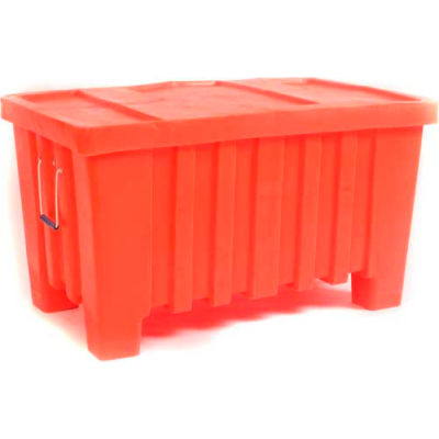 """Forkliftable Bulk Shipping Container with Lid - 43""""L x 26-1/2""""W x 24""""H, Yellow"""