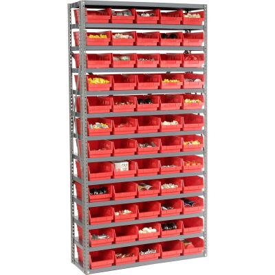 "Global Industrial™ Steel Shelving with 60 4""H Plastic Shelf Bins Red, 36x12x72-13 Shelves"