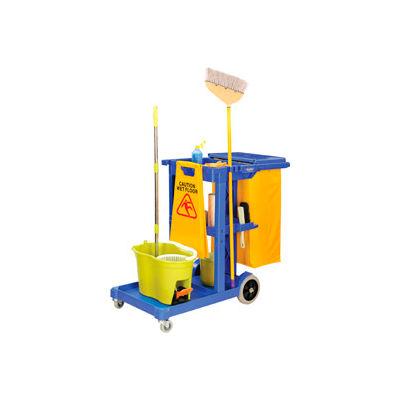 Global Industrial™ Janitor Cart Blue avec 25 gallons Sac en vinyle