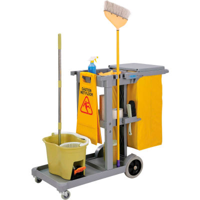 Global Industrial™ Janitor Cart Gray avec 25 gallon salage en vinyle