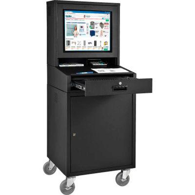 Global Industrial™ Mobile Security LCD Computer Workstation, Black, Unassembled