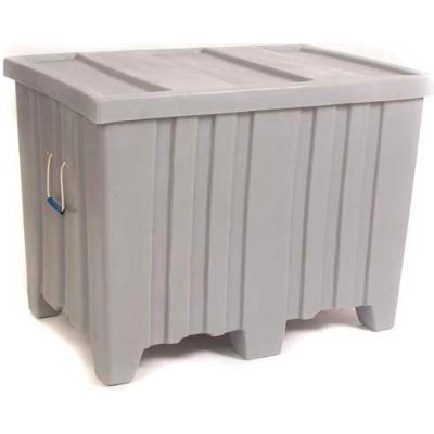 """Forkliftable Bulk Shipping Container with Lid - 45""""L x 30""""W x 33""""H, Blue"""