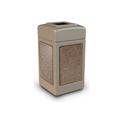 PolyTec™ Square Waste Container, Beige with Riverstone Stone Panels, 42-Gallon