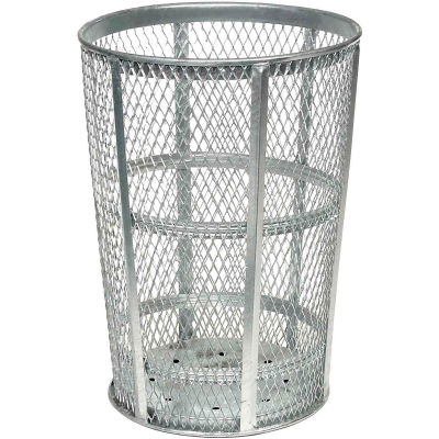 Global Industrial™ Outdoor Steel Mesh Corrosion Resistant Trash Can, 48 Gallon, Silver