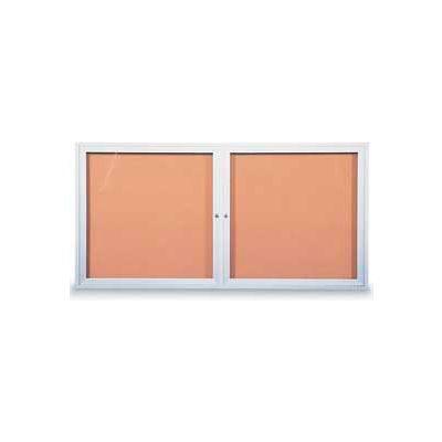 "United Visual Products Two-Door Indoor Corkboard - 42""W x 32"""