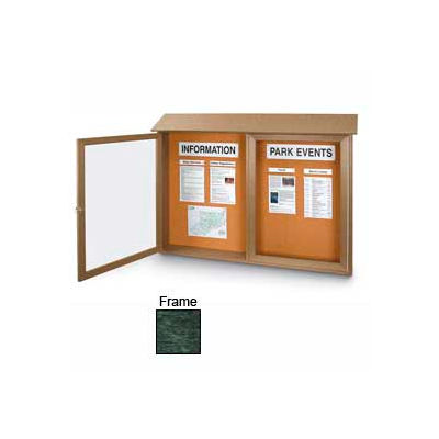 """United Visual Products Double-Door Outdoor Message Center - 45""""W x 30""""H - Woodland Green"""