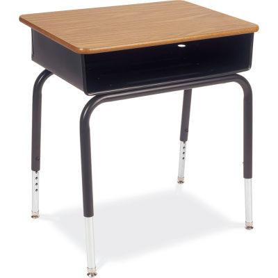 Virco® 785mbb Open Front Desk - Medium Oak Hard Plastic Top/Metal Book Box - Pkg Qty 2