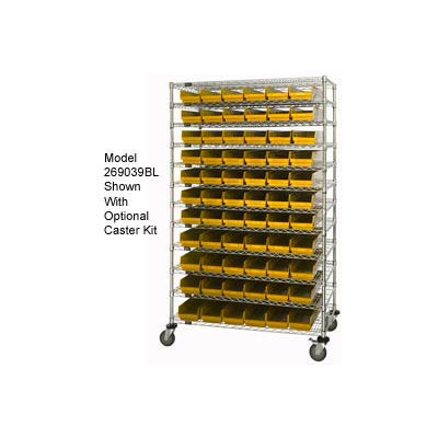"Global Industrial™ Chrome Wire Shelving with 140 4""H Plastic Shelf Bins Yellow, 72x24x74"