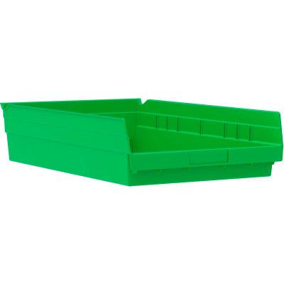 "Akro-Mils Plastic Nesting Storage Shelf Bin 30178 - 11-1/8""W x 17-5/8""D x 4""H Green - Pkg Qty 12"