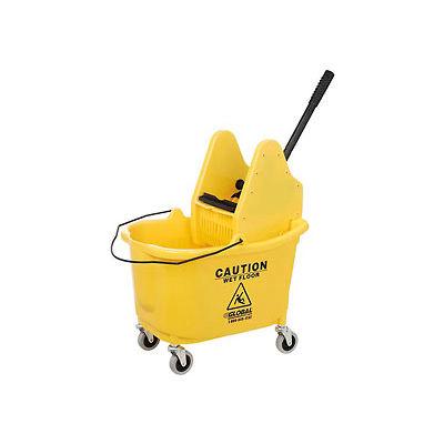 Global Industrial™ Mop Bucket And Wringer Combo 38 Qt., Down Press, Jaune