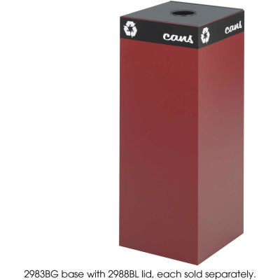 Safco® Public Square® Steel Recycling Container, 37 Gallon Burgundy - 2983BG