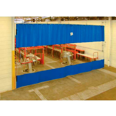 Global Industrial™ Blue Curtain Wall Partition with Clear Vision Strip 24 x 10