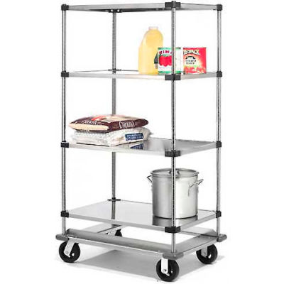 Nexel® Stainless Steel  Shelf Truck with Dolly Base 48x18x70 1600 Lb. Cap.