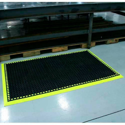 """Durable Corporation Workmaster II HV Anti Fatigue Mat 3/4"""" Thick 3.5' x 4' Black/ Yellow"""