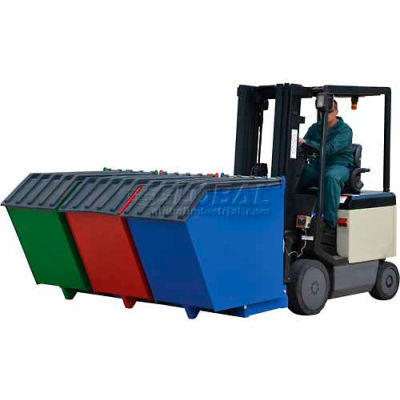 Triple-Bin Recycling Hopper, 1.5 Cu. Yd. Total Cap., 2000 Lb. Cap.