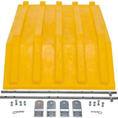 Plastic Lid for Triple-Bin Recycling Hopper, Yellow