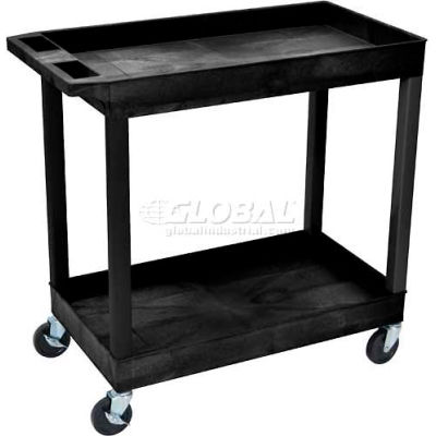 "Luxor® E-Series Plastic Utility Tub Cart, 2 Shelf, 35-1/4""Lx18""Wx36-1/4""H, Black"
