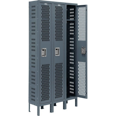 "Global Industrial™ Infinity® Single Tier 3 Dr Ventilated Locker,12""Wx18""Dx72""H,Unassembled"