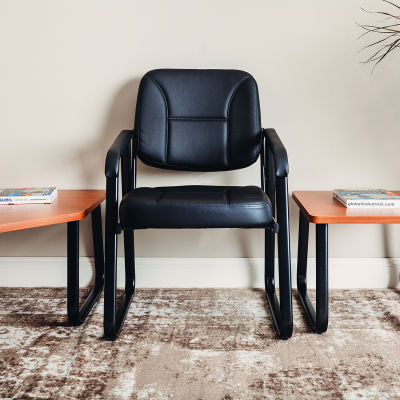 Interion® Antimicrobial Bonded Leather Reception Chair