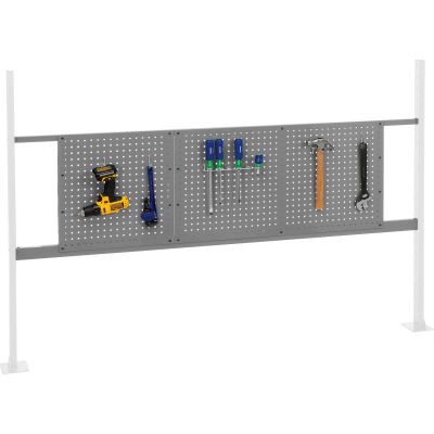 "Panel Kit for 72""W Workbench with 18""W and 36""W Pegboards, Mounting Rail - Gray"