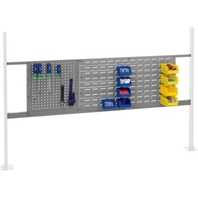 "Panel Kit for 72""W Workbench with 18""W Pegboard and 36""W Louver, Mounting Rail - Gray"