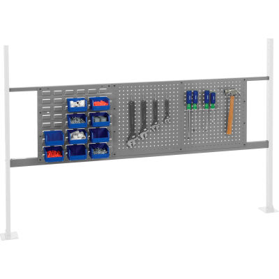 "Panel Kit for 72""W Workbench with 18""W Louver and 36""W Pegboard, Mounting Rail - Gray"