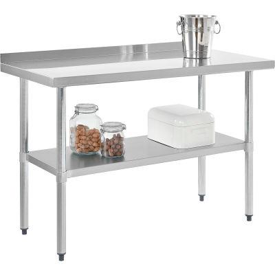 "Global Industrial™ Workbench W/Shelf, 18 Ga. 430 Series Stainless, 2"" Backsplash, 48""Wx24""D"
