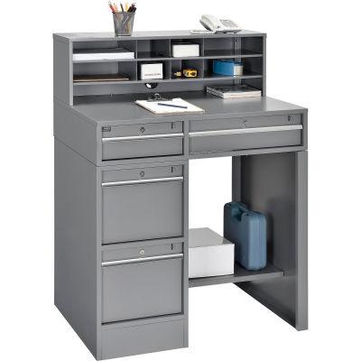 "Global Industrial™ Premium Pedestal Shop Desk With 4 Drawers & Shelf 38""W x 29""D x 51""H - Gray"