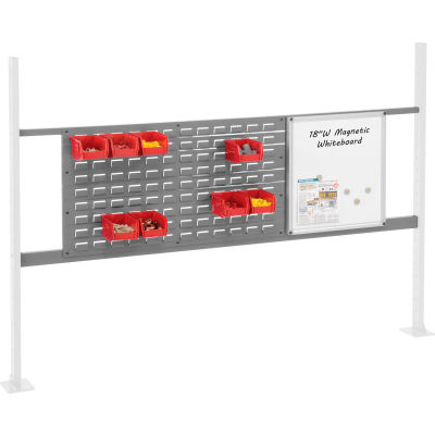 """Panel Kit for 72""""W Workbench with 18""""W Whiteboard and 36""""W Louver, Mounting Rai - Gray"""