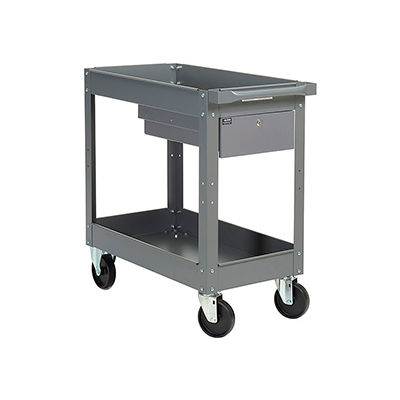 "Global Industrial™ Stock Cart, 1 Drawer & 2 Tray Shelves, 16""Wx30""L,  500 Lb. Cap"