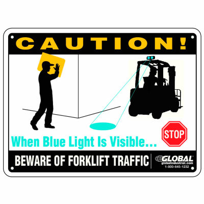"""Beware of Forklift Traffic Safety Warning Sign - 12"""" x 9"""" Plastic"""