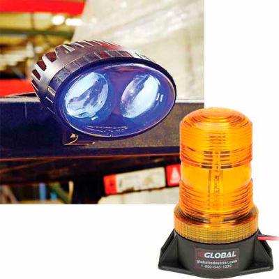 Global Industrial™ (2) Forklift LED Pedestrian Warning Light + (1) LED Amber Strobe Light Combo
