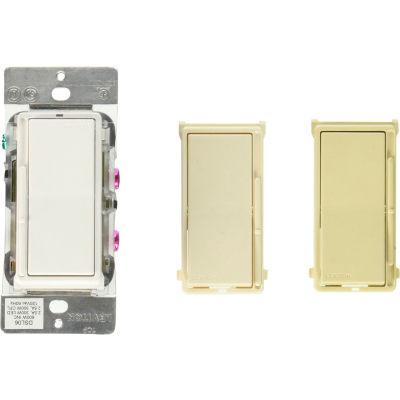 Leviton DS710-10Z Decora Rocker Slide Dimmer, utilisation w / LED/Mark 7 Dim Fixtures, 0-10V, amande WH-IV-LT