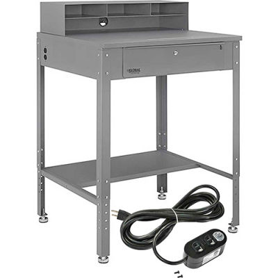 """Global Industrial™ Flat Surfaced Shop Desk w / Riser &Outlets, 34-1/2""""W x 30""""D, Gray"""