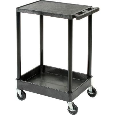 Luxor® STC21 Flat Top Shelf 2 Shelf Plastic Utility Cart 24x18 300 Lbs.