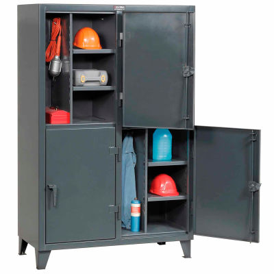 """StrongHold® Double Tier 4 Door Welded Personnel Locker, 50""""Wx24""""Dx78""""H, Gray, Assembled"""