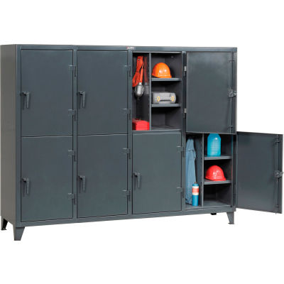 """StrongHold® Double Tier 8 Door Welded Personnel Locker, 98""""Wx24""""Dx78""""H, Gray, Assembled"""