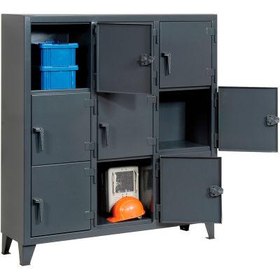 "StrongHold® Triple Tier 9 Door Welded Personnel Locker, 62""Wx18""Dx68""H, Gray, Assembled"