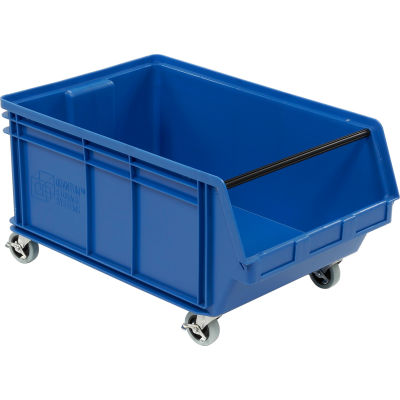 "Quantum Mobile Magnum Plastic Stacking Bin, 18""W x 28"" D x 15""H, Blue"