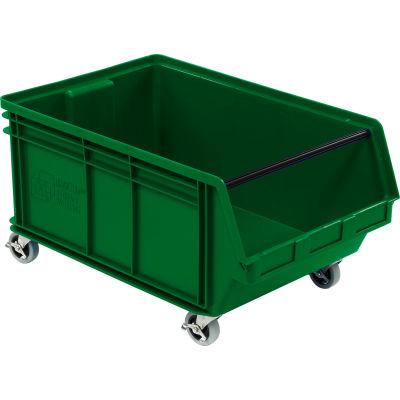 "Quantum Mobile Magnum Plastic Stacking Bin, 18""W x 28""D x 15""H, Green"