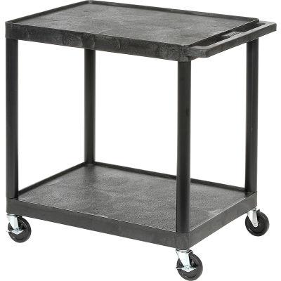 "Luxor® Plastic Utility Cart, 2 Shelf, 24""Lx18""Wx33-1/2""H, Black"