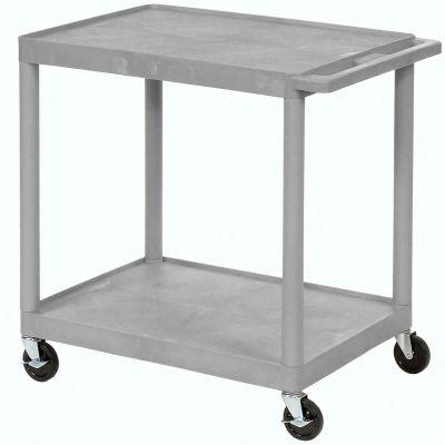 "Luxor® Plastic Utility Cart, 2 Shelf, 32""Lx24""Wx34""H, Gray"