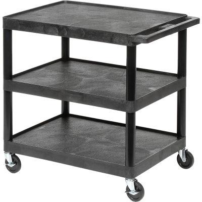 "Luxor® Plastic Utility Cart, 3 Shelf, 32""Lx24""Wx33-1/2""H, Black"