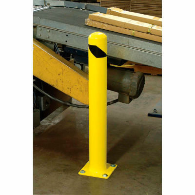 "Global Industrial™ Floor Mount Round Safety Bollard, Yellow, 36""H"