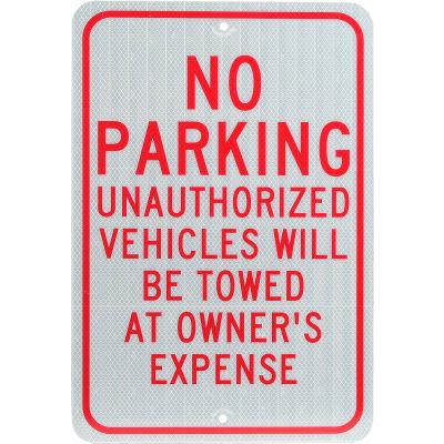 "Aluminum Sign - No Parking Unauthorized Vehicles - .08"" Thick, TM12J"