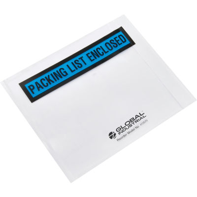 "Global Industrial™ Packing List Envelope, ""Packing List Enclosed"", 4-1/2""x5-1/2"", Blue, 1000/PK"
